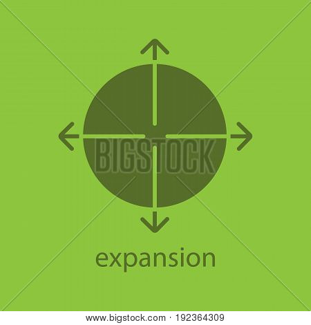 Expansion glyph color icon. Silhouette symbol. Expand abstract metaphor. Negative space. Vector isolated illustration
