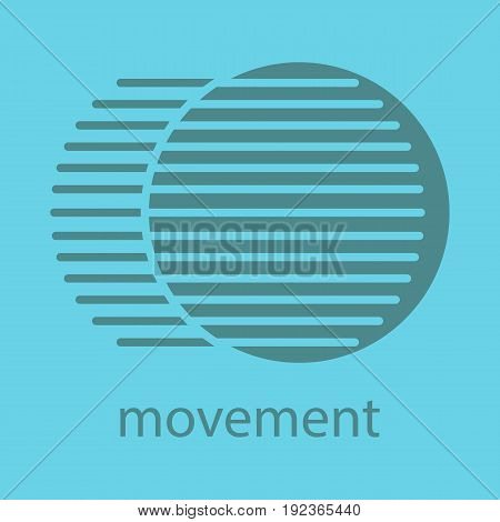 Movement glyph color icon. Silhouette symbol. Dynamic motion concept. Negative space. Vector isolated illustration