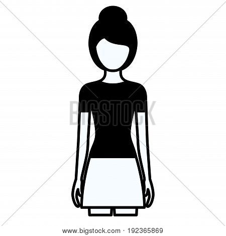 black silhouette thick contour of faceless full body woman with skirt and collected hairstyle vector illustration