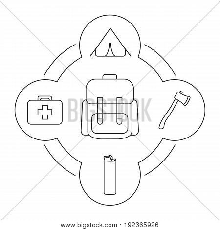 Tourist's backpack contents linear icons set. Tent, axe, lighter, first aid kit. Isolated vector illustrations