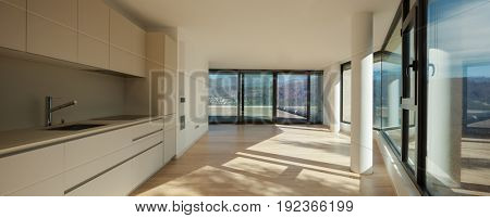 Ineriors of a modern apartment, kitchen in a open space
