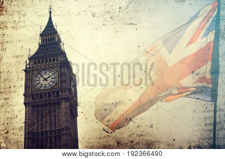 Retro style poster with London symbol: Big Ben and UK flag