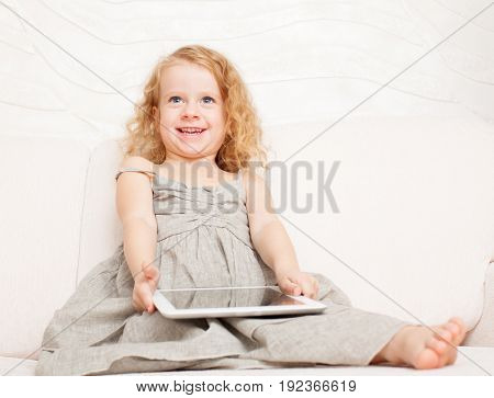 Girl with pc at home