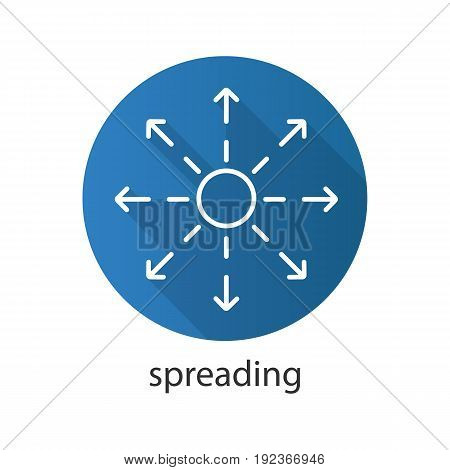 Spreading flat linear long shadow icon. Distribution abstract metaphor. Vector line symbol