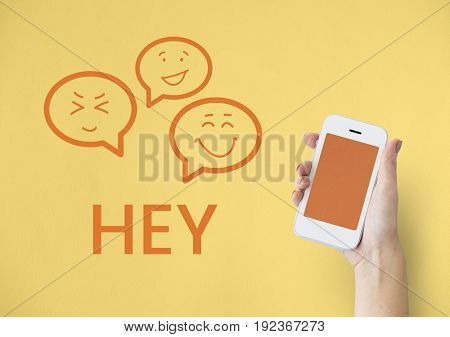 Hand holding digital device network graphic overlay background