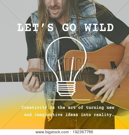 Adult Man Playing Guitar Wild Lifestyle Word Graphic