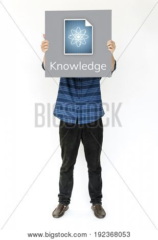 Hands holding billboard network graphic overlay