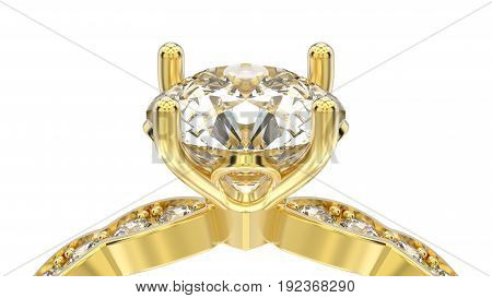 3D illustration isolated zoom macro yellow gold ring with diamonds on a white background