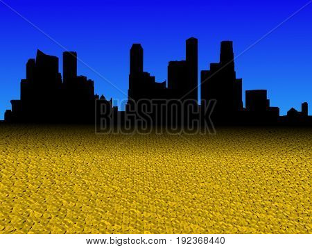Singapore skyline with golden dollar coins foreground 3d illustration