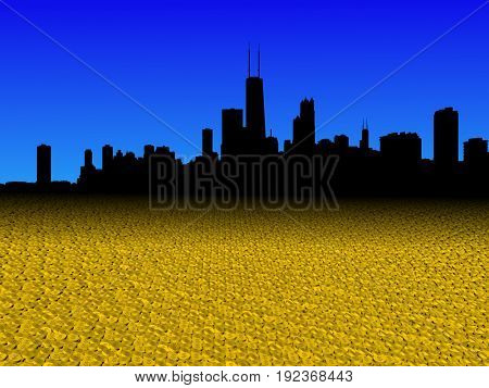 Chicago skyline with golden dollar coins foreground 3d illustration