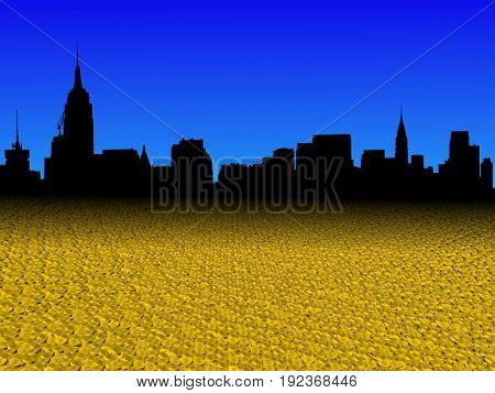 Midtown Manhattan skyline with golden dollar coins foreground 3d illustration