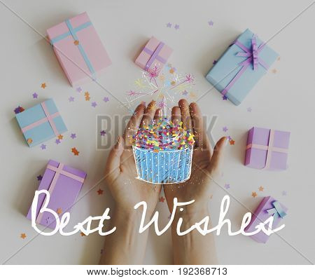Best wishes text on hands with gifts