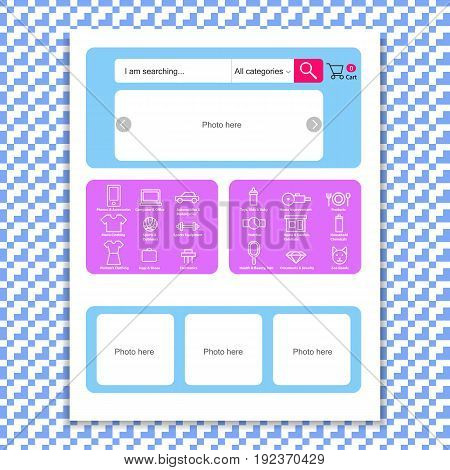 Web page template for online store. This illustration can be used for website design.