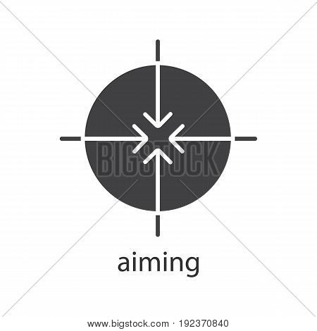 Aiming glyph icon. Silhouette symbol. All direction arrows. Negative space. Vector isolated illustration