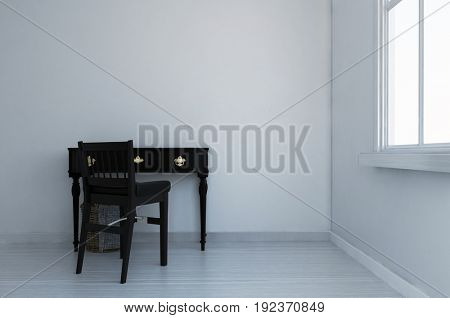 Small writing desk and chair in a white monochromatic den or study with painted hardwood floor below a window. 3d Rendering.