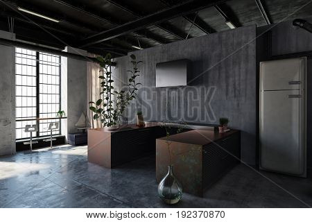 Dark interior of modern minimalist design kitchen in loft style with brown tables, fridge, decorative plants and bar stools against huge window. 3d Rendering.