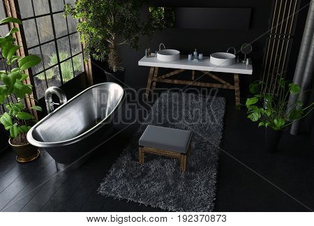 Interior concept of modern bathroom in black colors, with shiny metal freestanding bath near huge window, with lots of green indoor plants and soft furry rug, viewed from high angle. 3d Rendering.