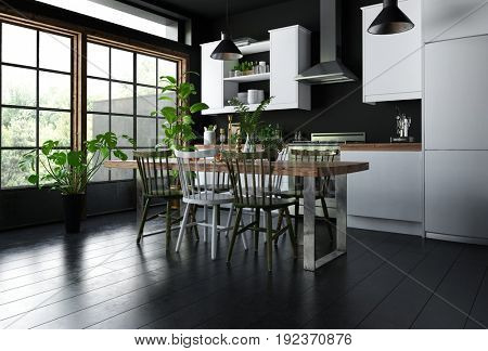 Interior of modern kitchen with dining table, wooden chairs on black floor, white furniture, lots of potted indoor green plants and huge bright windows. 3d Rendering.