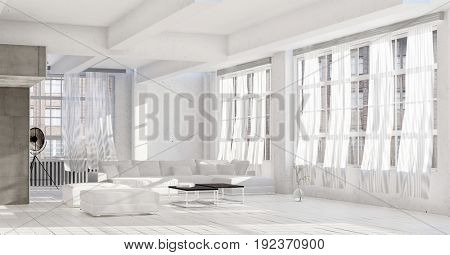Bright white high key luxury living room interior with rows of windows and painted floorboards with a modular couch and ottomans around a coffee table. 3d Rendering.