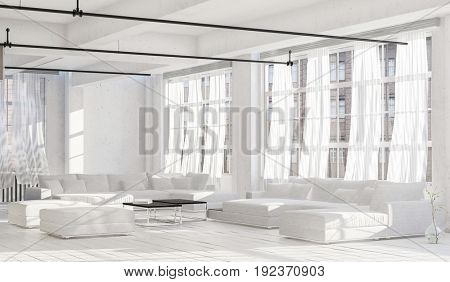 Spacious bright room in minimalist design interior with white couches, white walls, ceiling and the floor, and light white curtains on huge windows. 3d Rendering.