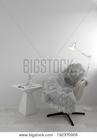 Shaggy sheepskin rug on a comfortable tub chair alongside a table with magazines in a white monochromatic living room or den illuminated by a floor lamp. 3d Rendering.