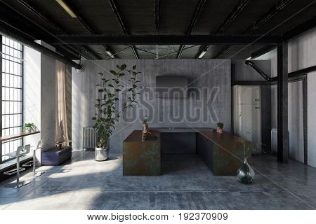 Small kitchenette in an industrial loft conversion with U-shaped cabinets in front of large bright windows and potted plants. 3d Rendering.