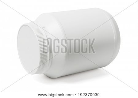 Large Round Plastic Container Lying on White Background