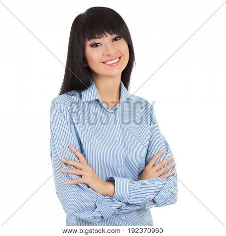 Young woman isolated on the white background. Crossed arms . Portrait of a smiling business woman.