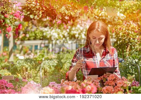 Female worker writing in documents in the garden in sunny day.