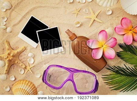 empty photo frames and seashells on the sand beach. summer