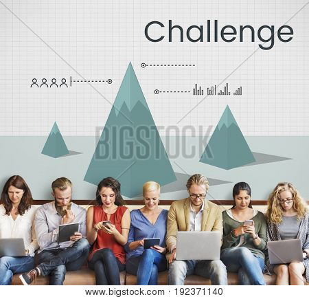 Business challenge analysis graph illustration