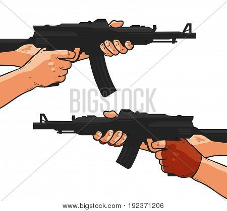 Assault rifle, machine gun, shotgun. Cartoon comics style vector illustration isolated on white background