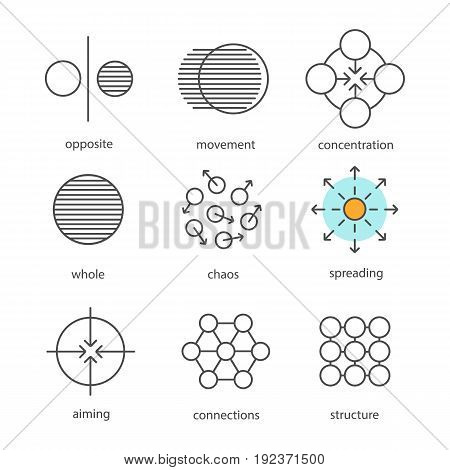 Abstract symbols linear icons set. Opposite, movement, concentration, whole, chaos, spreading, aiming, connections, structure. Thin line contour symbols. Isolated vector outline illustrations
