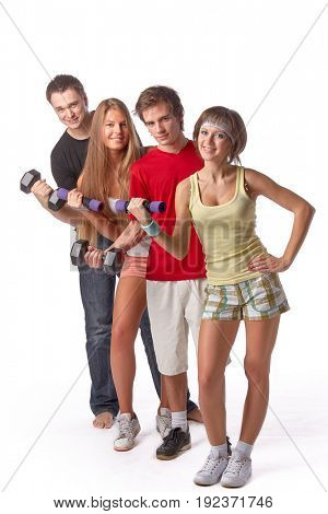 Group of people with dumbbells on a white background. Training.