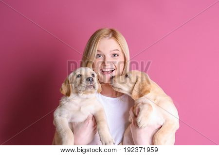 Beautiful young woman with cute labrador retriever puppies on color background