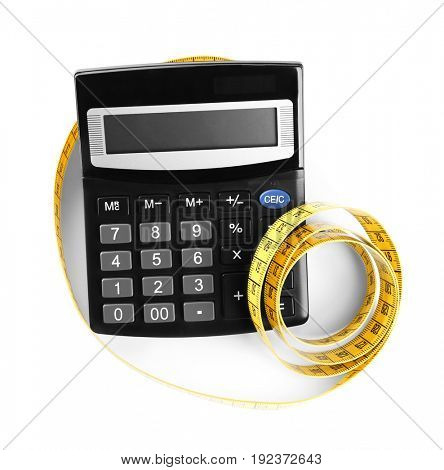 Weight loss concept. Calculator and measuring tape on white background