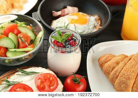 Nutrient breakfast on table