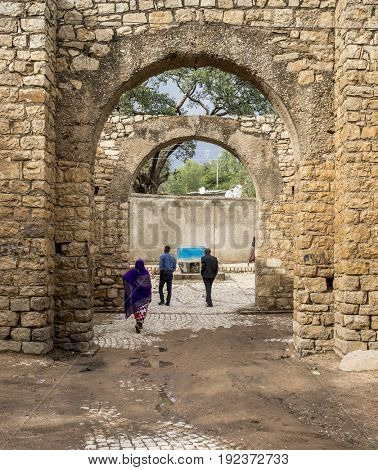 HARAR, ETHIOPIA-MARCH 26, 2017: Buda Gate, also known as Badro bari, Karra Budawa, or Hakim Gate, is one of the entrances to Jugol, the walled city included in the World Heritage List by UNESCO.