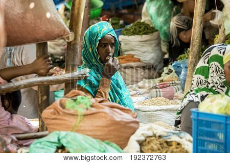 HARAR, ETHIOPIA-MARCH 31, 2017: Unidentified merchants sell spices in Harar, Ethiopia
