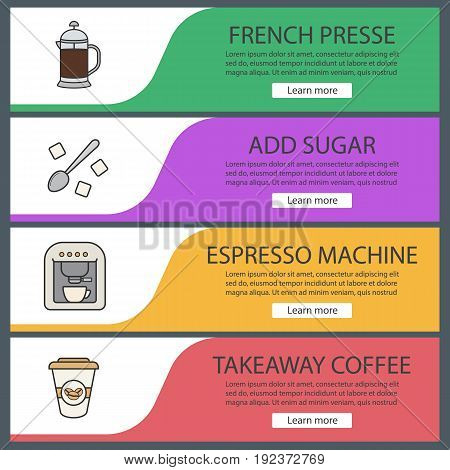 Coffee web banner templates set. French press, teaspoon with sugar cubes, espresso machine, takeaway paper cup. Website color menu items. Vector headers design concepts