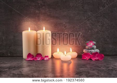 Beautiful composition of candles with hortensia flowers on dark background