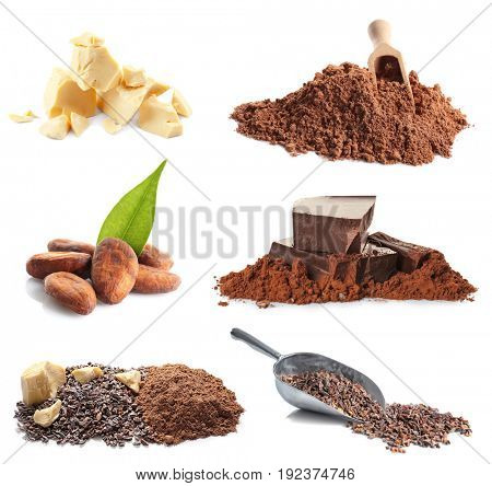 Set of cocoa products on white background