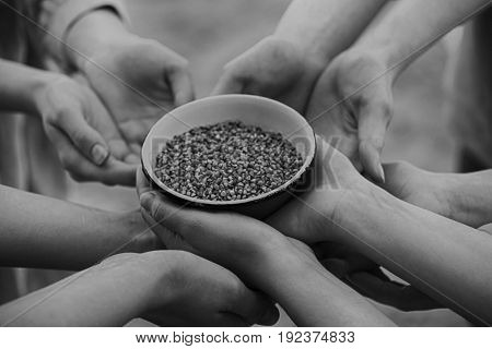 Poverty concept. Poor people holding bowl with buckwheat, closeup