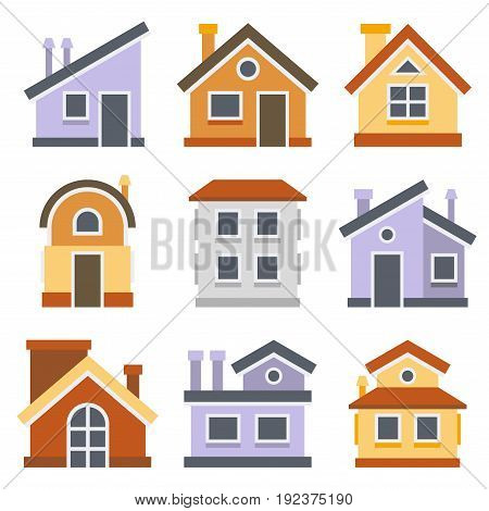 Houses Set. Flat style design. Vector illustration