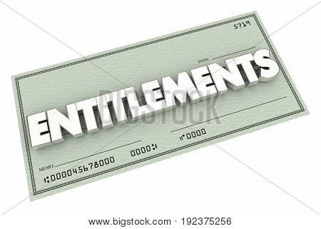 Entitlements Check Welfare Medicare Social Security 3d Illustration