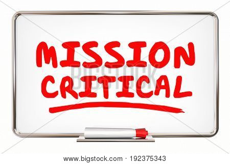 Mission Critical Urgent Emergency Action Board Words 3d Illustration