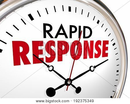Rapid Response Clock Quick Fast Reaction 3d Illustration