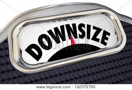 Downsize Scale Word Lower Weight Cut Back 3d Illustration