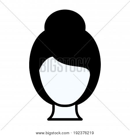 black silhouette thick contour of faceless woman with collected hairstyle vector illustration