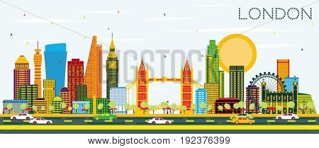 London Skyline with Color Buildings and Blue Sky.